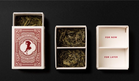 Golden Panther tea box in three states. The first state shows the matchbox-sized box's illustrated outer sleeve; the second shows the inner box with two chambers full of tea; the third shows the empty chambers with 'one for now, one for later' printed underneath the tea leaves